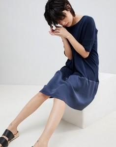 Свободное трикотажное платье с шелковой вставкой Paisie - Темно-синий