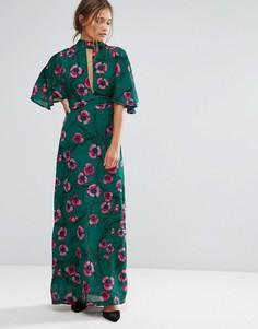 Платье макси с цветочным принтом и рукавами-кимоно Liquorish - Зеленый