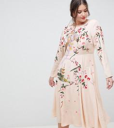 Платье миди с вышивкой ASOS DESIGN Curve - Розовый