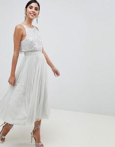 Платье миди для выпускного с отделкой ASOS DESIGN - Синий