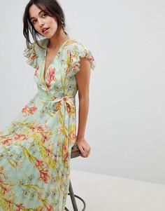 Платье макси с цветочным принтом и рукавами клеш ASOS DESIGN - Мульти
