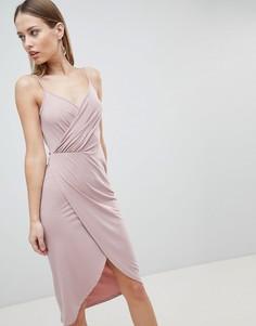 Платье миди на бретельках с драпировкой ASOS DESIGN - Розовый