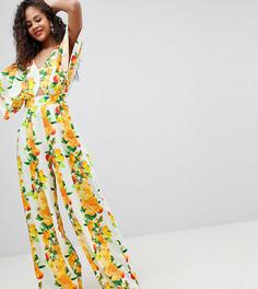 Комбинезон в стиле кимоно с широкими штанинами и фруктовым принтом ASOS DESIGN Tall - Мульти