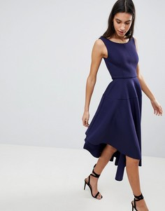 Асимметричное фактурное платье миди City Goddess - Темно-синий