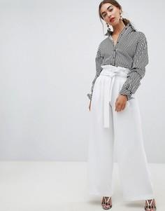 Широкие брюки со складками на талии River Island - Белый
