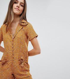 Ромпер с бантами на карманах и цветочным принтом Glamorous Petite - Оранжевый