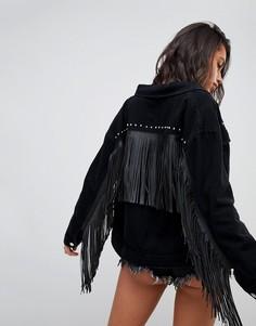 Джинсовая куртка с кисточками и заклепками Missguided - Черный