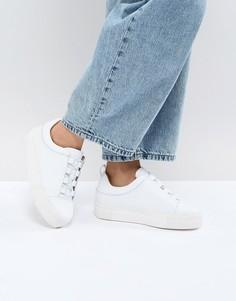 Кожаные кроссовки на платформе Selected - Белый