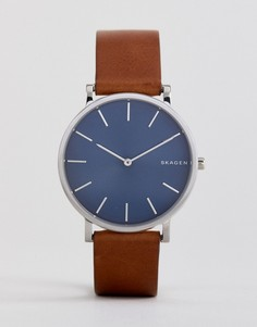Часы со светло-коричневым кожаным ремешком Skagen SKW6446 Hagen - 38 мм - Рыжий