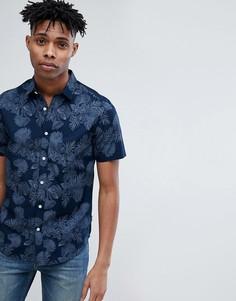 Рубашка с короткими рукавами и цветочным принтом Only & Sons - Темно-синий