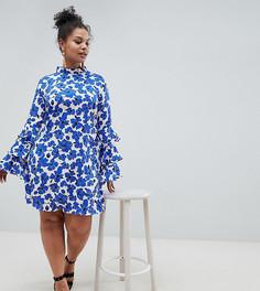 Платье с ярусными рукавами и цветочным принтом AX Paris Plus - Мульти