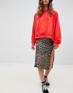 Юбка миди с разрезом и леопардовым принтом Daisy Street - Коричневый