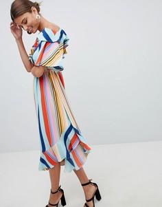 Платье миди в яркую полоску Boohoo - Мульти