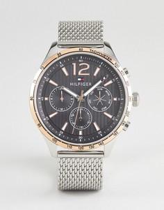 Серебристые часы с сетчатым браслетом и хронографом Tommy Hilfiger 1791466 - 46 мм - Серебряный