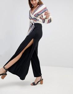 Широкие брюки в рубчик с разрезами по бокам New Look - Черный