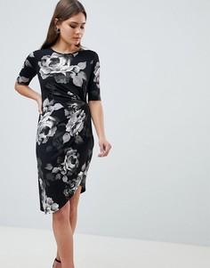 Платье с асимметричным запахом и цветочным принтом Yumi - Черный