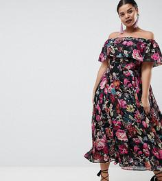 Платье миди с цветочным принтом ASOS DESIGN Curve - Мульти