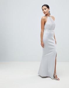 Платье макси с отделкой искусственным жемчугом ASOS DESIGN - Серый