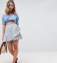 Хлопковая мини-юбка в полоску ASOS DESIGN Petite - Мульти