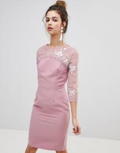 Облегающее платье с вышивкой Little Mistress - Розовый