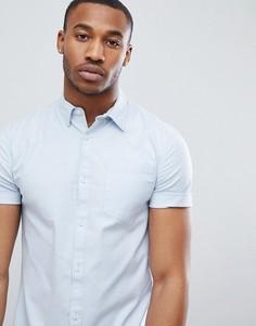 Обтягивающая голубая оксфордская рубашка New Look - Синий