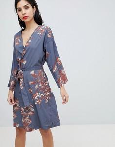 Платье с запахом и цветочным принтом Vila - Серый
