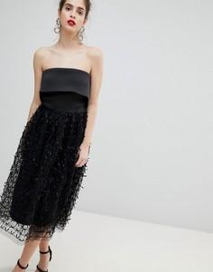 Платье-бандо с 3D-отделкой True Violet - Черный