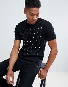 Черная футболка с заклепками в виде черепа River Island - Черный