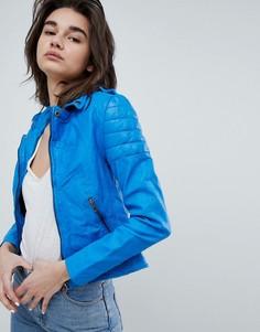 Байкерская кожаная куртка кобальтового цвета Muubaa Presley - Синий