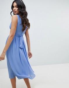 Платье миди с запахом и поясом TFNC - Синий