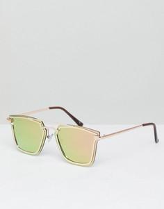 Квадратные солнцезащитные очки цвета розового золота Jeepers Peepers - Золотой