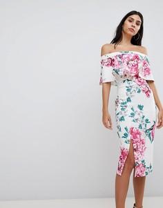 Платье миди с оборкой True Violet - Мульти