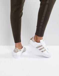 Белые кроссовки с розово-золотистой отделкой adidas Originals Superstar -  Белый 4c11e202059