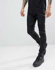 Черные джинсы скинни с байкерской отделкой ASOS - Черный