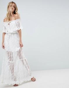 Кружевное платье макси с открытыми плечами Adelyn Rae Joseline - Белый