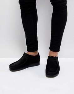 Черные замшевые туфли на шнуровке Clarks Originals - Черный