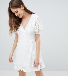 Платье с запахом и вышивкой ришелье Fashion Union Tall - Белый
