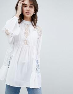 Удлиненная свободная блузка с кружевом ASOS DESIGN - Белый