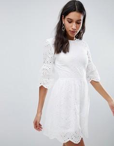Платье с вышивкой ришелье Parisian - Белый