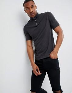 Темно-серая футболка с молнией ASOS DESIGN - Серый