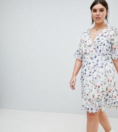 Чайное платье с цветочным принтом Junarose - Мульти