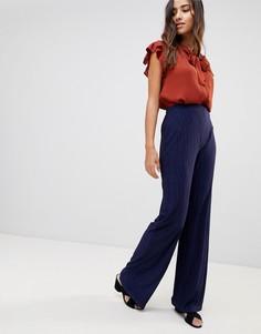Фактурные брюки с широкими штанинами Love - Темно-синий