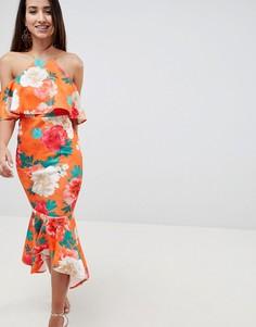 Платье миди с открытыми плечами и асимметричной баской ASOS DESIGN - Мульти