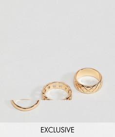 3 золотистых кольца DesignB эксклюзивно для ASOS - Золотой