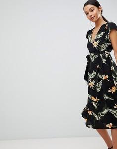 Платье миди с принтом и ремнем AX Paris - Черный