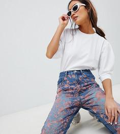 Выбеленные джинсы прямого кроя с вышивкой ASOS DESIGN Florence Authentic - Синий