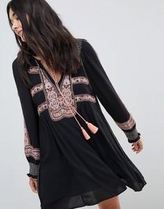 Платье мини с вышивкой Free People Wind Willow - Черный