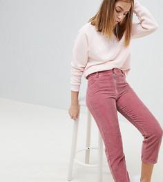 Розовые вельветовые джинсы прямого кроя с завышенной талией и молнией ASOS DESIGN Petite - Розовый