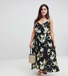 Платье макси на пуговицах с принтом лилий ASOS DESIGN Curve - Мульти