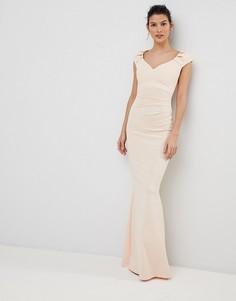 Платье макси со складками City Goddess - Розовый